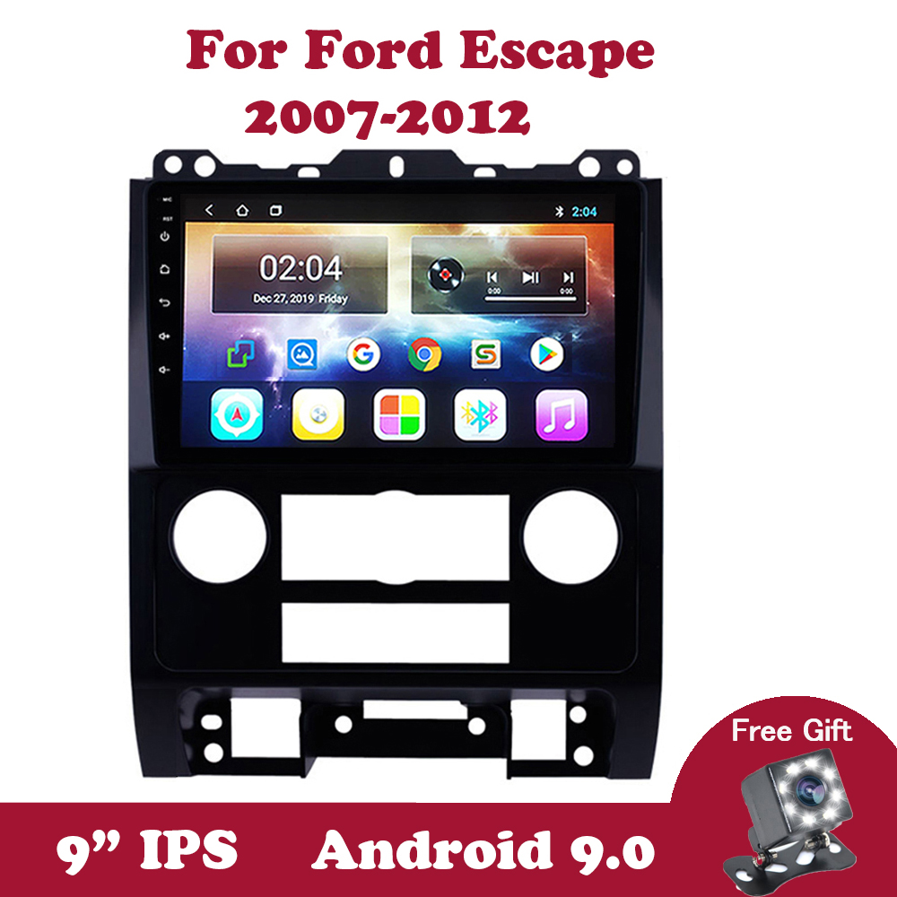 Android 9.0 <font><b>GPS</b></font> Navi Unit Player For <font><b>Ford</b></font> <font><b>Escape</b></font> 2007-2012 Support Carplay SWC OBD OBD2 DVR DVB 2.5D IPS Car Radio Stereo Video image