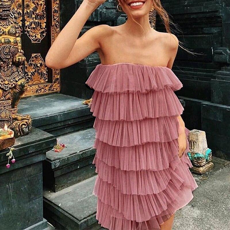 Misswim Sexy Pink Mesh Dress Women Halter Sleeveless Cake Dresses Ladies Autumn Party Dress Short Ruffle Vestidos Festa 2019 New