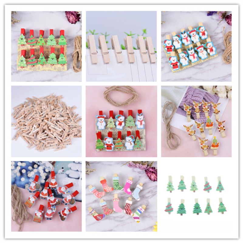 10pcs / 12pcs / 50pcs Mini Memo Paper Clips Christmas Tree Bear Wooden Clips  Photo Clips Clothespin Craft Decoration Clips Pegs
