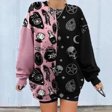 Cartoon Skull Print Sweatshirt Women Patchwork Loose Long Sleeve Jumper Pullovers Autumn Winter O Neck Sweatshirt Tops Plus Size