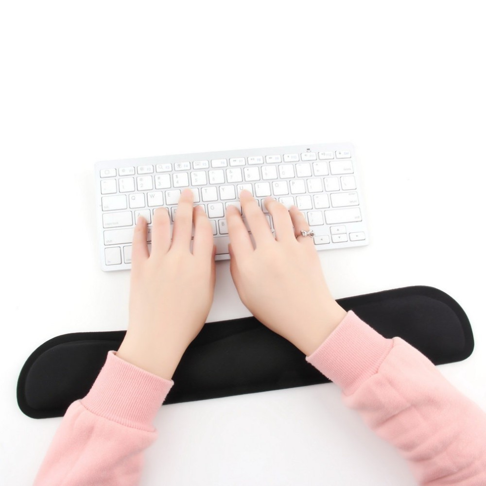 Desktop Gel Mouse Pad Anti Slip Black Support Wrist Rest Desk Mouse Mat For PC Computer Gaming Keyboard Raised Platform Hands