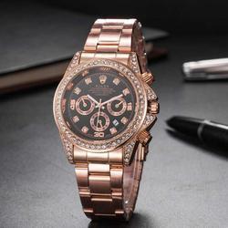 brand fashion classic quartz mens watch 2020 chronograph rubber belt date wristwatch rose gold metal watch men 582