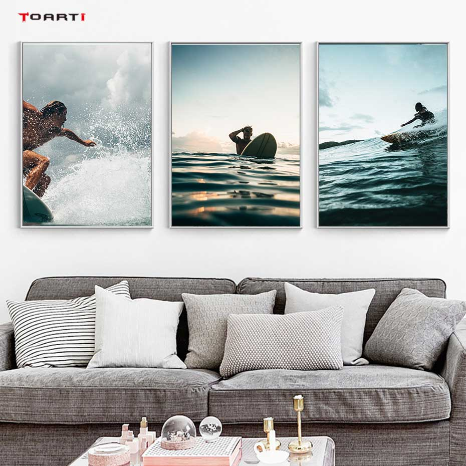 Home Art Wall Decor Beach Surfers And Sharks Oil Painting HD Printed On Canvas