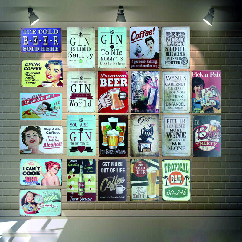 Cold Beer Drinking Vintage Metal Signs Shabby Chic Wall Cafe Home Pub Art kitchen Bar Decoration Cuadros 30X20CM AA 23A in Plaques Signs from Home Garden