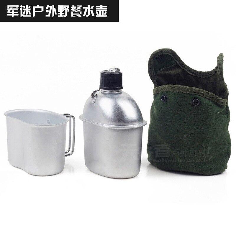 Esporte ao ar livre militar de alumínio aço inoxidável garrafa água cantina jarro + exército verde pano capa acampamento piquenique utensílios de mesa