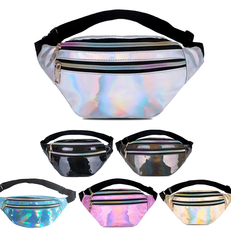 Women's Belt Bag Fashion Girls Handbags Fanny Pack Travel Shiny Waist Bag Female Banana Hip Bag Laser Chest Phone Pouch