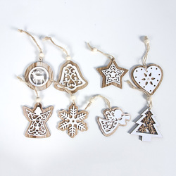 2pcs New Year 2020 Gift Natural Wooden Christmas Tree Pendants Christmas Ornaments Decorations for Home Adornos De Navidad 2019 5