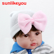 Sunlikeyou Newborn Baby Hat Toddler Hospital Hats For Newborn 0-3M Caps Cotton Soft Infant Bowknot Beanie Bonnet Baby Girl Hat newborn baby hat soft pure cotton infant bebe boy girl beanie hospital hat heart baby knitted bonnet cap