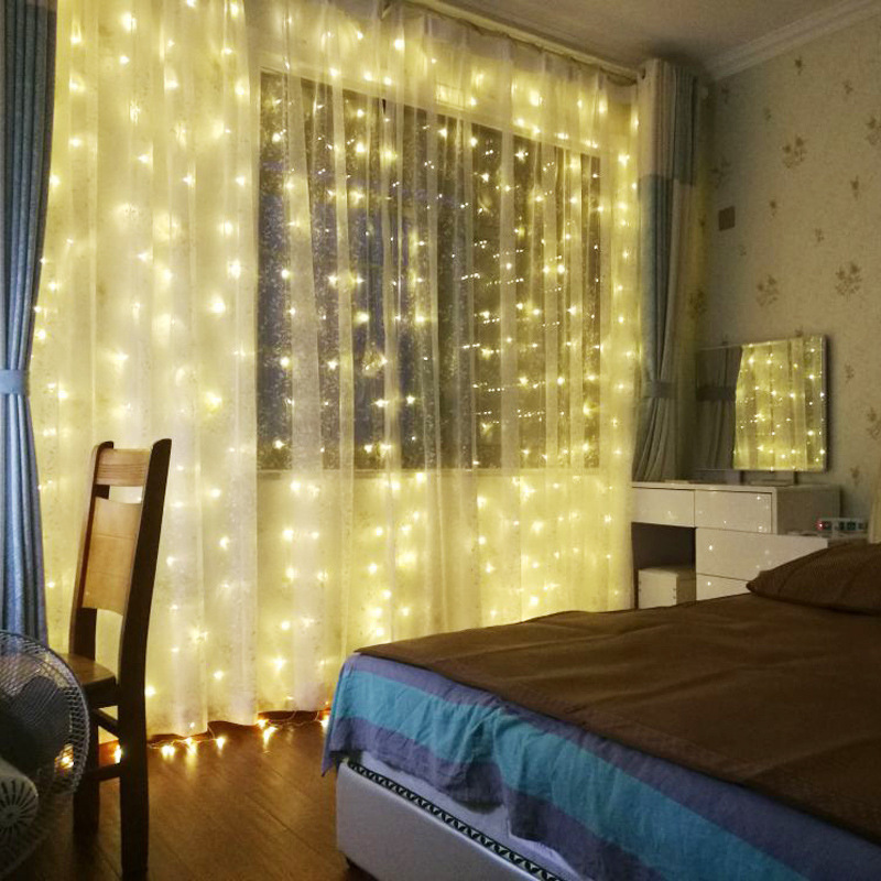 LED Garland Icicle String Lights 2 3 6M Remote 7 Flash Christmas LED Curtain Fairy Lights For Wedding Party Window Decoration