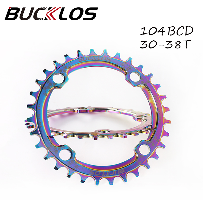 Plato de bicicleta ancho estrecho 104BCD, platos y bielas de bicicleta de montaña, rueda de cadena de aleación de aluminio chapado 30-38T, juego de manivela redonda ovalada