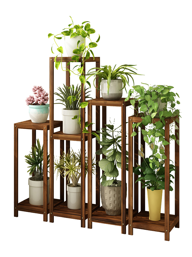 Wood Airs Green Luo Balcony A Living Room To Ground Indoor Multi-storey Chinese Style Square Buddhist Mood Single Pelvic Shelf