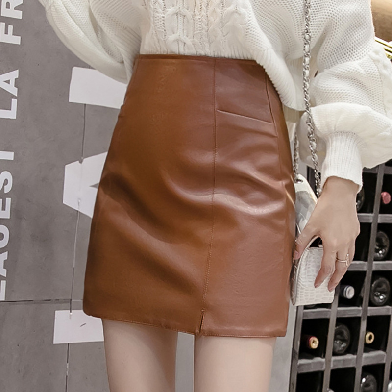 2020 Autumn Spring Women Bodycon Skirt Pu Leather Sexy Mini Skirt A-line Package Hip High Waist Falda Mujer Black Brown Burgundy