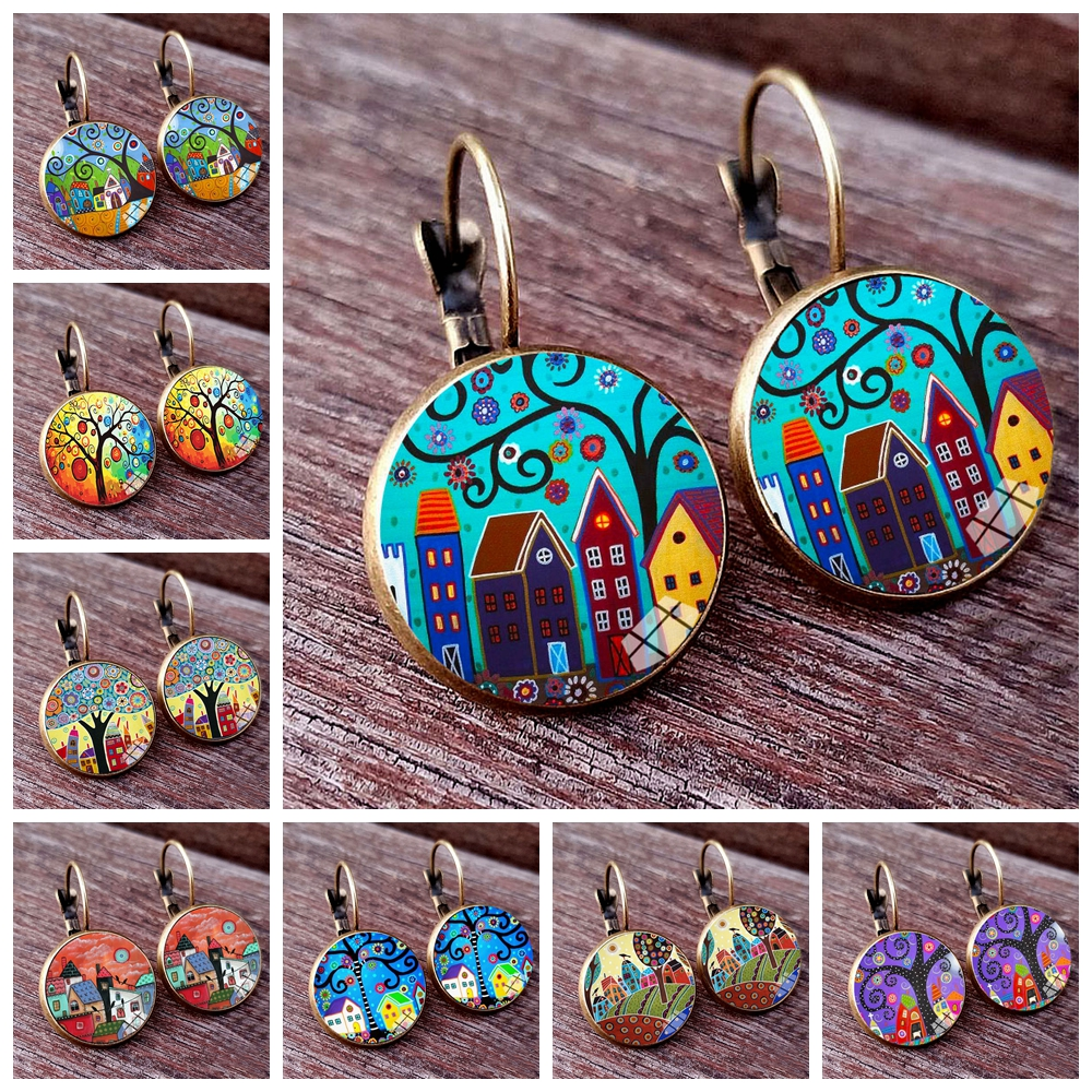 New Arrival Colorful House and Tree Women Stud Earring Abstract Oil Painting House Glass Cabochon Womens Earrings