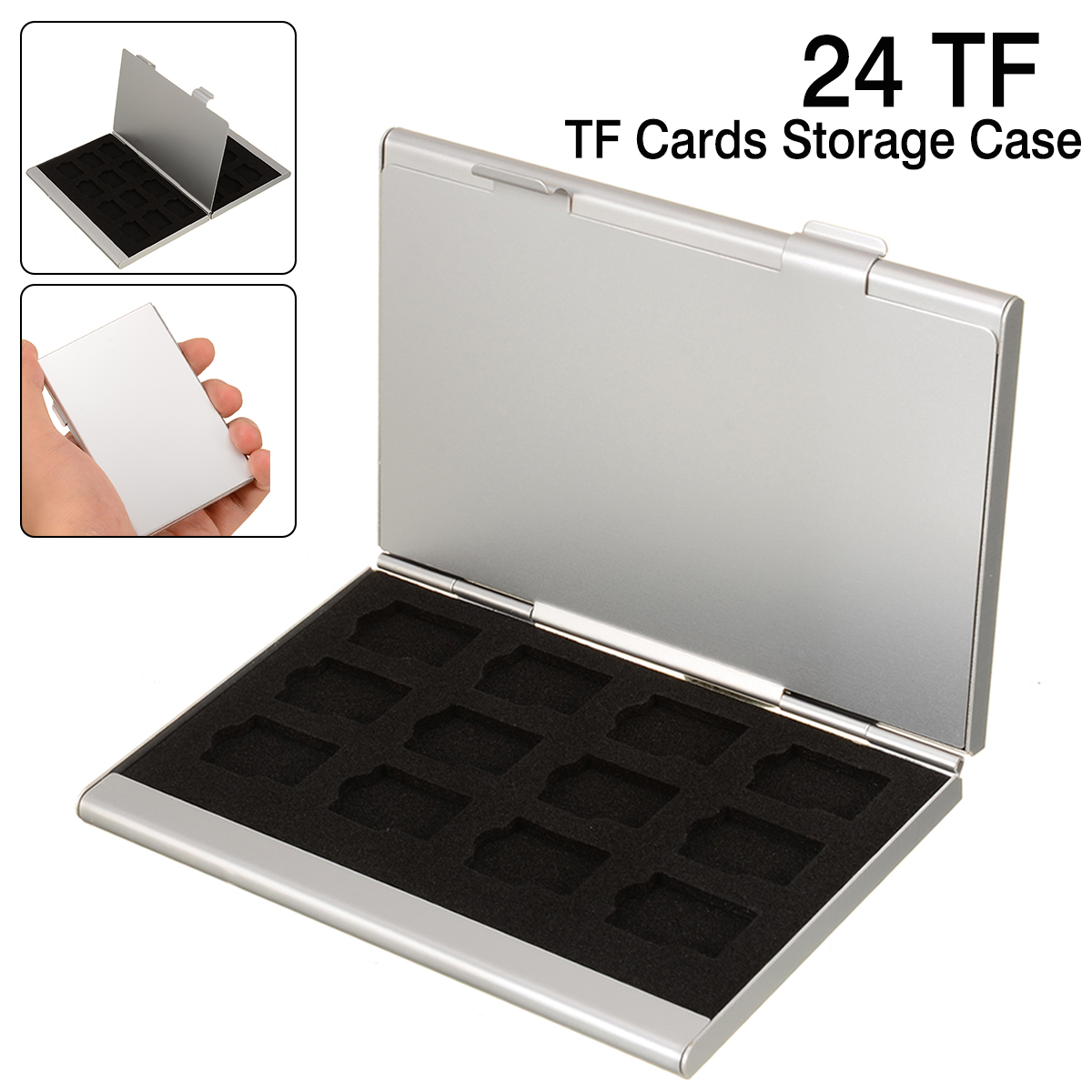 24 IN 1 Portable EVA Spomge Slots TF Cards Storage Case Silver Aluminum Alloy Shell Box For Memory Card Easy Carry Tools