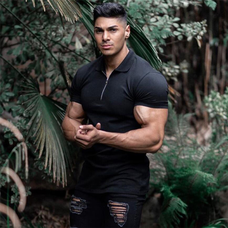 New Arrival Cotton Men Polo Shirt Tops Fashion Brand Plus Size Short Sleeve Gym Bodybuilding Fitness Polo Shirt Homme Camisa