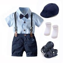 Sommer Jungen Kleidung Hut Schuhe Baby Outfit Set Fliege Bib Anzug Neugeborenen 7 Stück Party Geburtstag Kleider 3 6 9 1 2 18 24 monate
