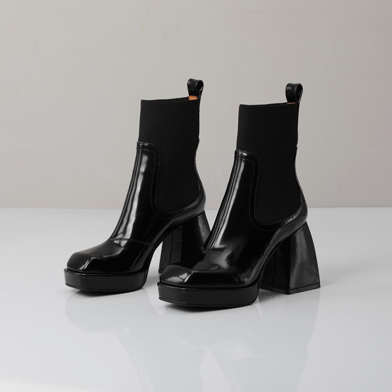Natureza cheia de couro genuíno botas chelsea