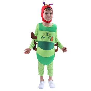 Tute Cosplay per bambini prestazioni per feste bruco verde insetto pagliaccetti fantasia gioco di ruolo ragazzi ragazze Costume di Halloween carino 1