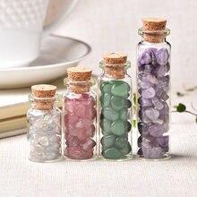 Bouteille de souhait en verre cristal naturel, 1 pièce, décoration de maison, pierre de guérison, pierres naturelles polies, porte-bonheur, cadeaux d'anniversaire