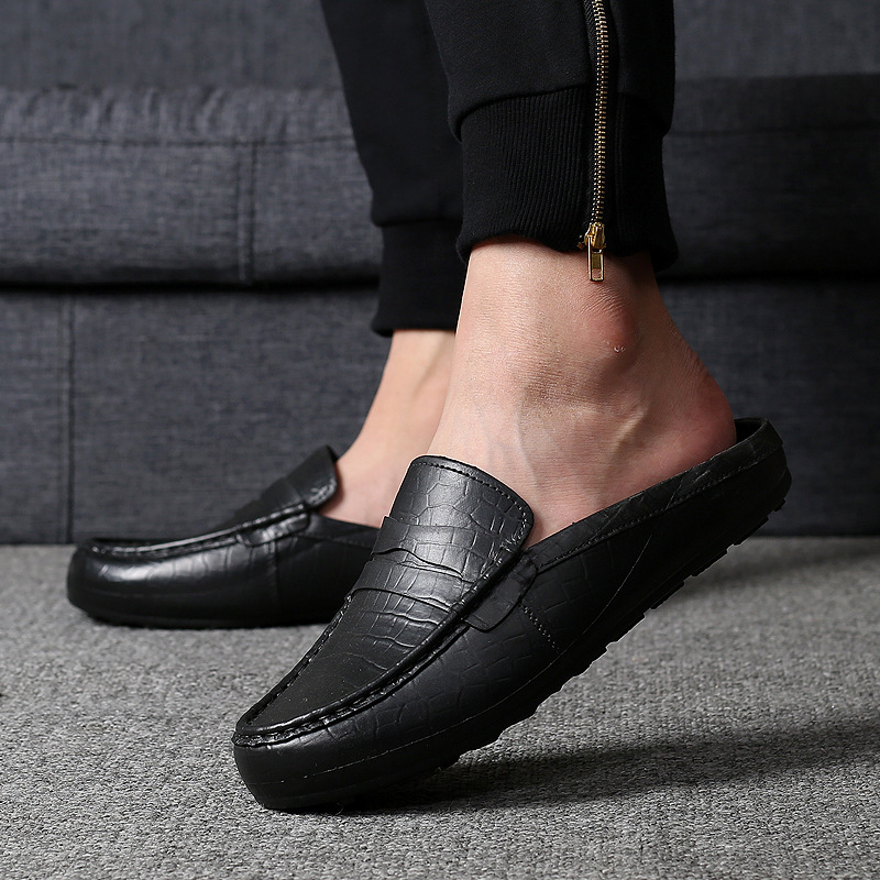 Half Drag Casual Sandals Shoes Men Slippers No Heels Lazy Peas Shoes Comfortable Slip On Loafers Man Easy To Put On And Take Off