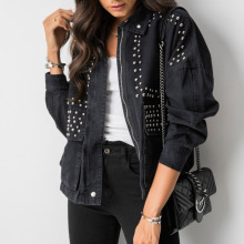 Women Cool Harajuku Rivet Jacket Coat Korean Short Black Jeans Jacket