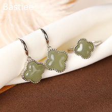 Bastiee Natural Stone Clover 925 Sterling Silver Jade Jewelry Sets For Women Rings Stud Earring Beads Luxury Gifts Jewellery Set