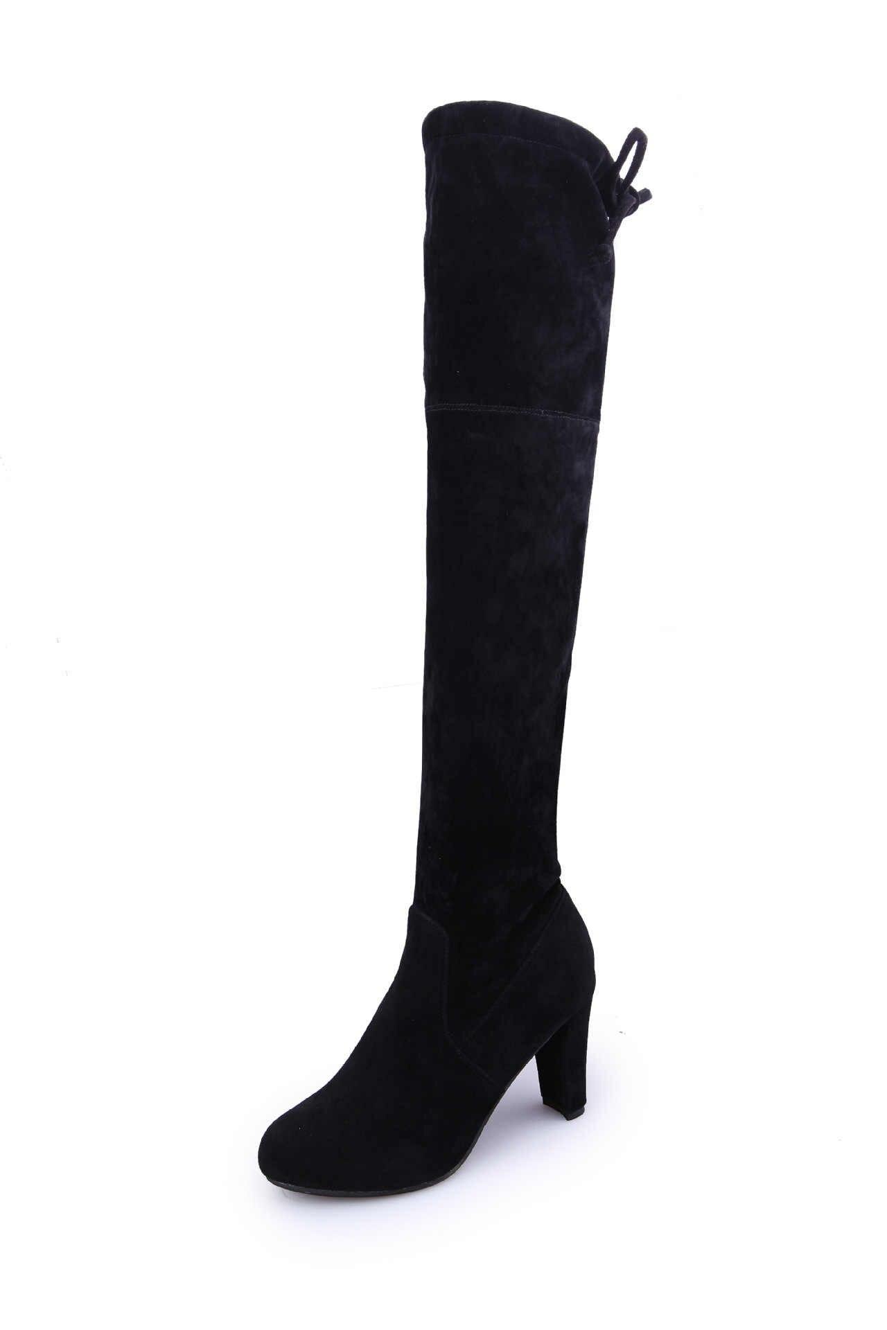 Seksi Slim Fit elastik Overknee kadın çizmeler sonbahar kış bayanlar yüksek topuklu latform uzun çizmeler hanımefendi büyük boy ayakkabı 42 43