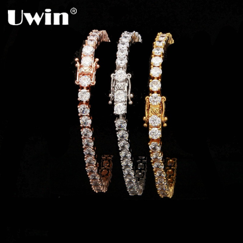 Uwin 1 Row Cubic Zircon Tennis Link Bracelet Rose Gold/Silver Color Iced Out Mens CZ Bracelet Fashion Jewelry