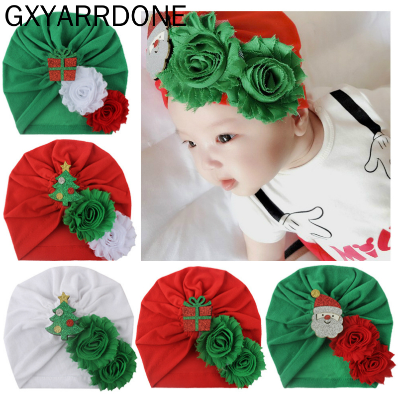1pcs Baby Girls Hat Children Shabby Flower XMAS GIFTS Indian Cap Autumn Winter Knotted Beanies Infant Girls Hair Accessories