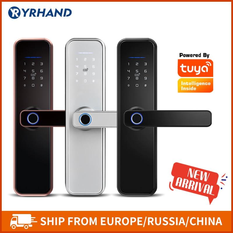 Door-Lock Intelige Tuya Biometric Fingerprint Password Smart-Wifi-App Security Waterproof