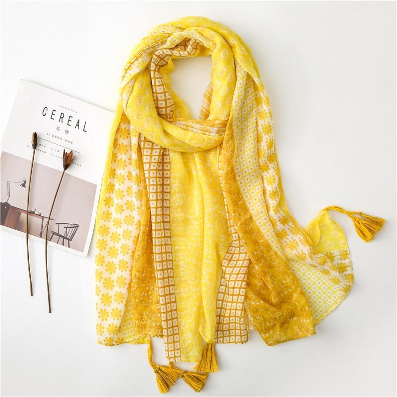 Women Autumn Yellow Polka Floral Tassel Viscose Scarf Luxury Brand Print Pashmina Shawl Foulard Ladies Fashion Muslim Hijab Caps