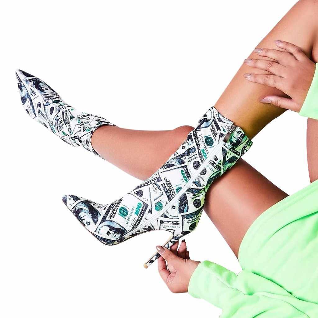 US Dollar พิมพ์ 2019 ใหม่รองเท้าผู้หญิงรองเท้าชี้รองเท้าเซ็กซี่หญิงฤดูใบไม้ร่วงฤดูหนาว Lady ต้นขาสูงรองเท้า