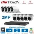 HIKVISION английский 16CH DVR гибридный видеорегистратор видеонаблюдения met 2MP купольная en Bullet камера безопасности наборы