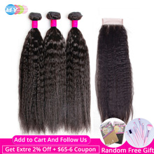 3 Bundles With Closure Remy Hair Closure With Bundles BY Kinky Straight Hair With Closure Brazilian Human Hair Yaki