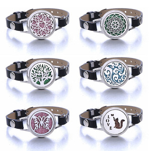 Aromatherapy Bracelet Leather Stainless Steel Essential Oil Diffuser Locket Bracelet Aroma Diffuser Jewelry Support Dropshipping(China)