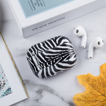 Zebra Leopard Pattern Grain Case For Apple Airpods Pro Protection Coque Luxury Earphone Cover For Airpods 3 Storage Charging Box image