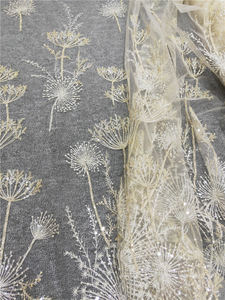 Image 4 - 1 Yard Luxury Gold bead dandelion sequin tulle embroidery lace fabric haute couture fabric lace DIY craft wedding 135cm wide