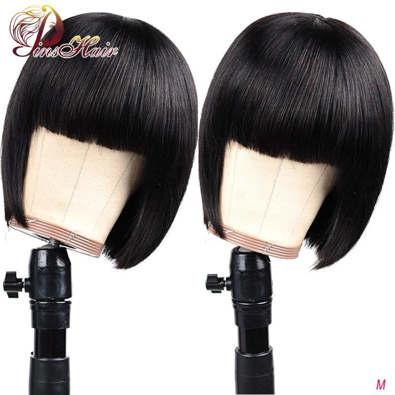 Bob Wig Peruvian Remy Straight Hair Wig Short Human Hair Wigs Natural Color Human Hair With Bangs Full Machine Wig Pinshair 150