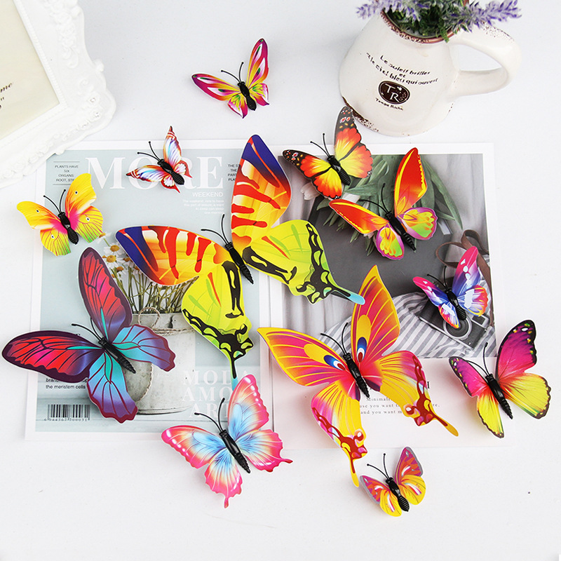12Pcs/set Colorful 3D Butterfly Wall Sticker Wedding Decoration Home Decor Butterflies For Decorations Magnet Fridge Stickers