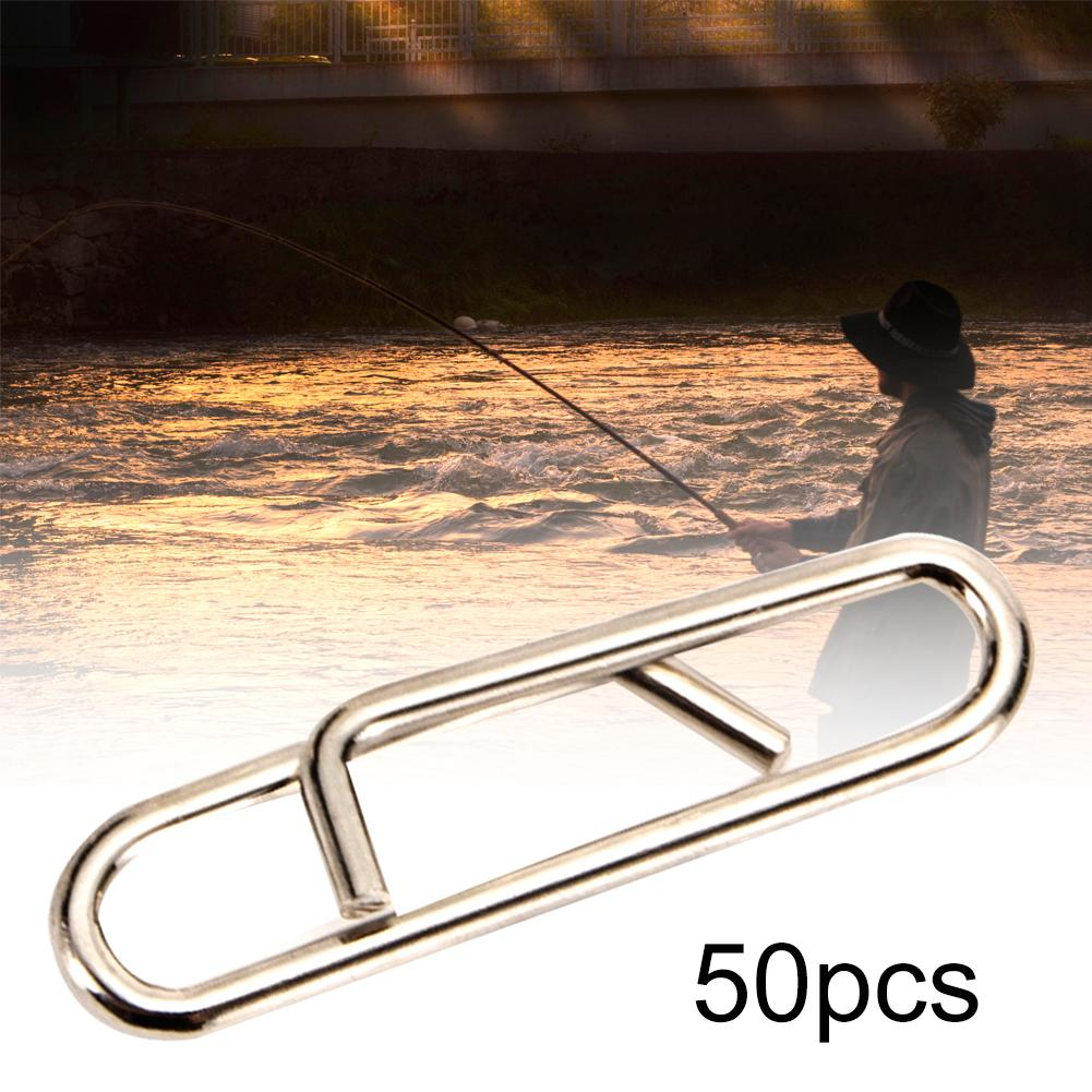 50Pcs Fishing Safety Snaps Steel Hook Fast Lock Snap Swivels Solid Rings Connector Quick Change Link Clips Fishing Bait Grip