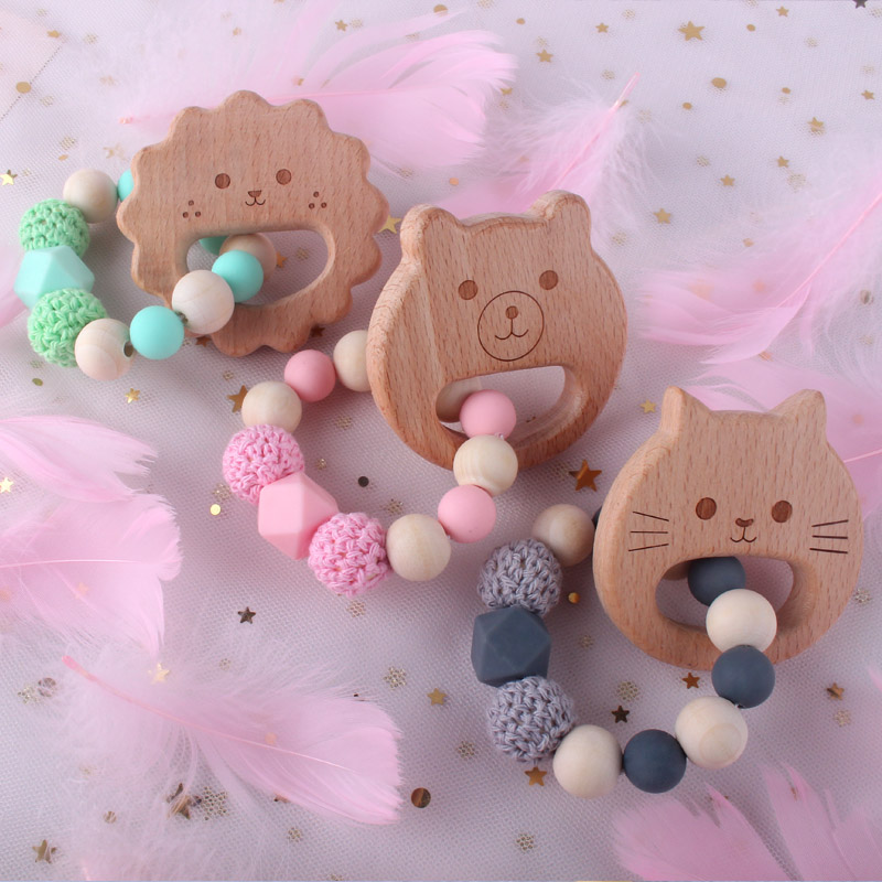 XCQGH Wooden Pendant Baby Teether And Silicone Beads Teething Ring For Newborn Baby Boy Girl