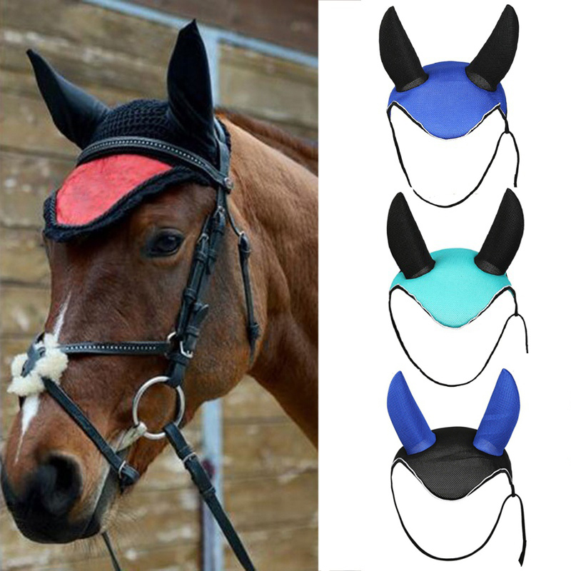 Horse Fly Mask Bonnet Net Ear Masks Protector Horse Riding Breathable Meshed Horse Ear Cover Equestrian