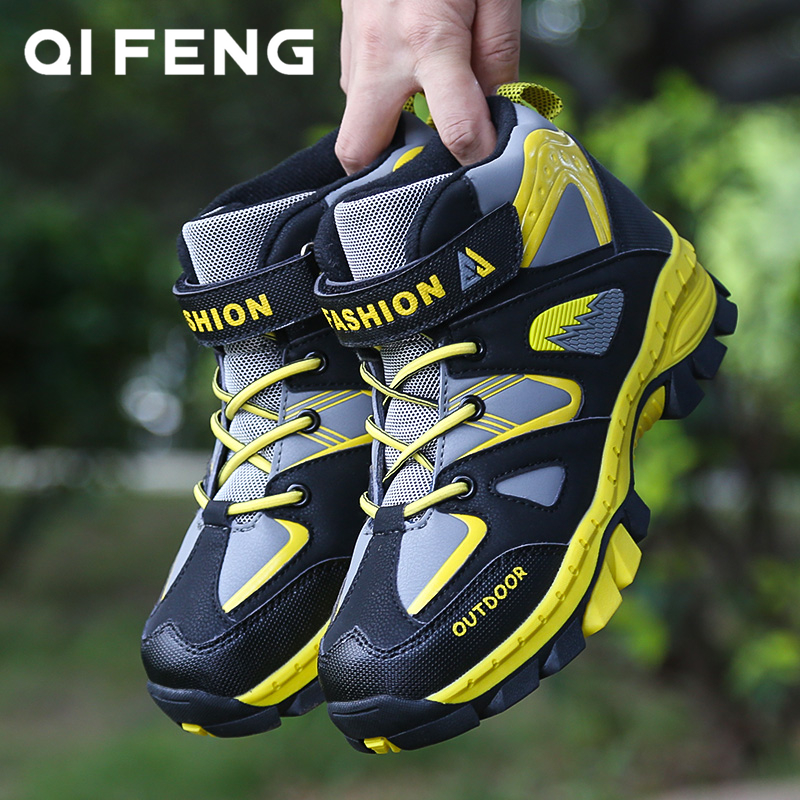 Boys Casual Shoes Winter Warm Children Sneakers High-top Anti-Slip Kids Trainers Waterproof Sport Trekking Teenagers Footwear 6