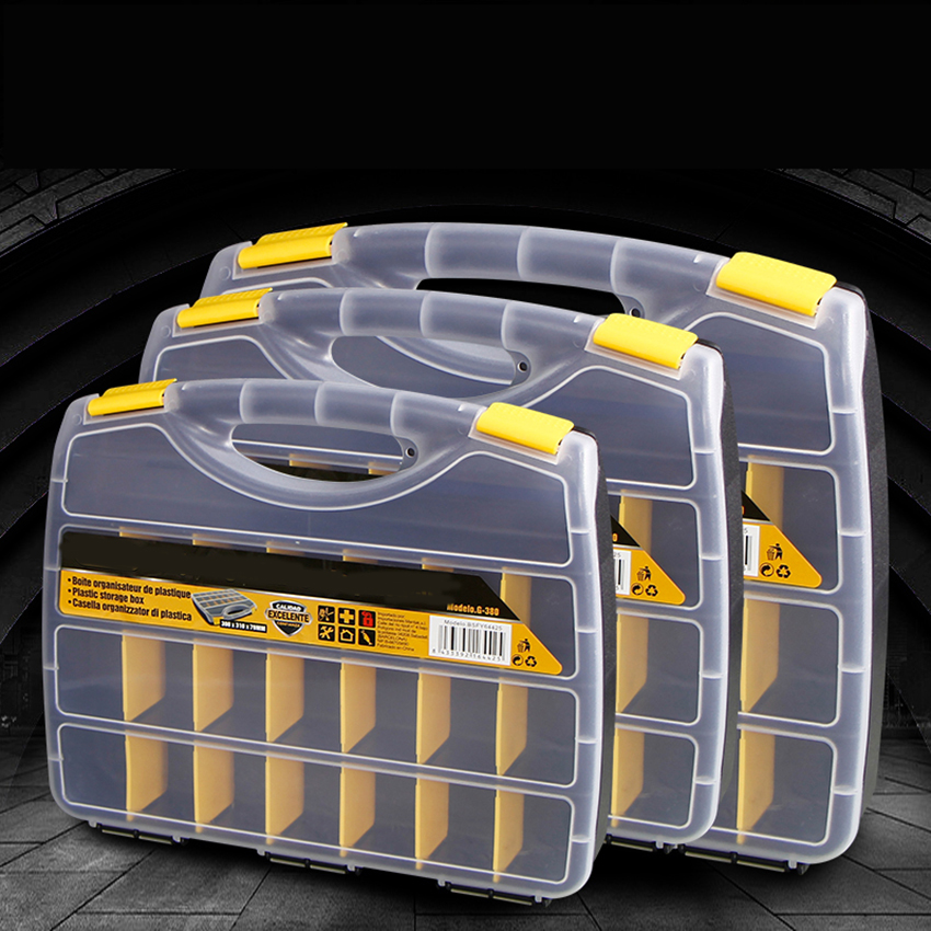 15/21 Grids Portable Parts Box Metal Screw Storage Box Hardware Parts Screwdriver Repair Vehicle Hand Tool