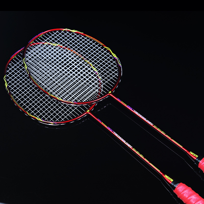 2 Pieces Of Professional Badminton Racket Set Double Badminton Racket Carbon Braided Badminton Racket 22-28lbs Feathers For Shoo