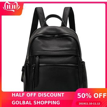 Miyaco Leather Backpacks for Women Casual Genuine Black Leather Backpack Trave Backpack Simple Designer Schooll Backpack