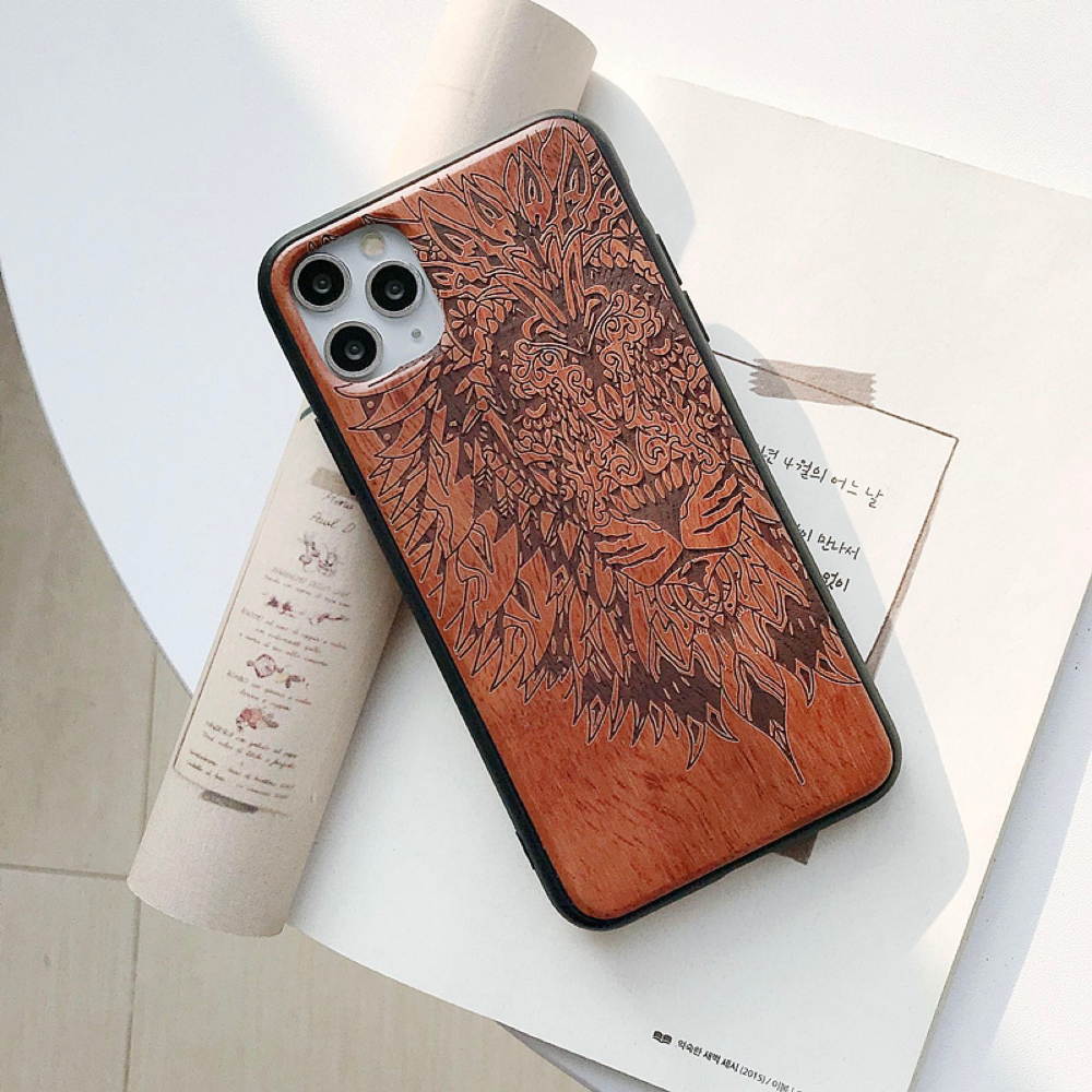 Natural Laser Carving Wooden Phone Case For iPhone 12 Pro Max 10