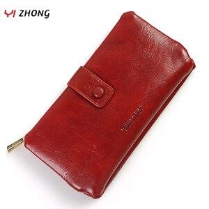 YIZHONG Роскошный кошелек из вощеной кожи, европейские женские кошельки с держателем для карт, многофункциональный кошелек с защелкой, длинные...