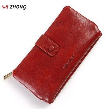 YIZHONG billetera de cuero de lujo con cera de aceite, tarjetero europeo, billeteras para mujer, bolso de broche multifuncional, Carteras largas para mujer