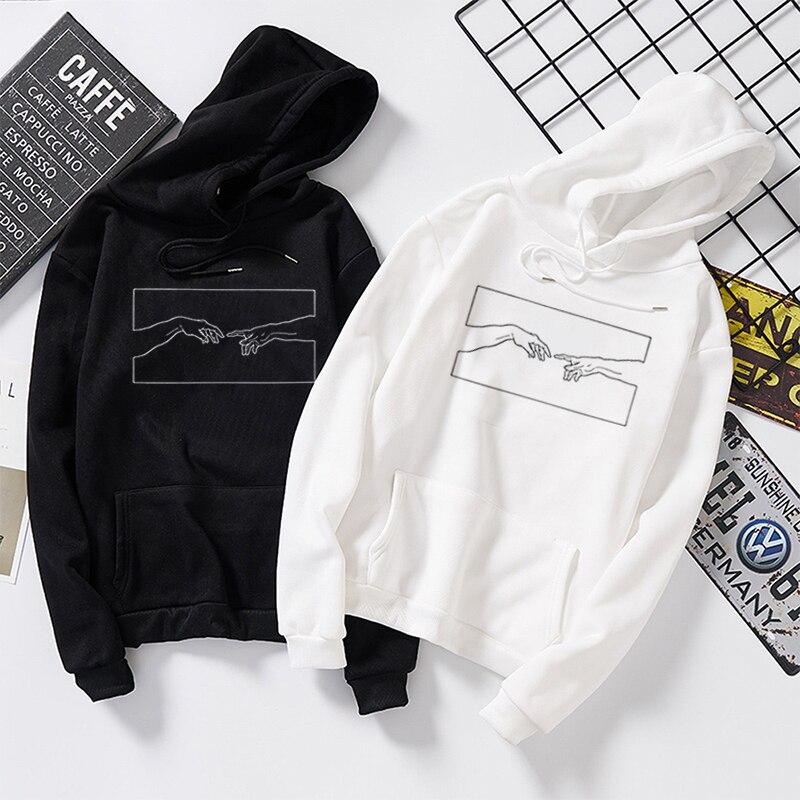 Winter Skuggnas Creation Hands Line Art Sweatshirts Hoodie Kawaii Pullover Jumper Outfits Tumblr Gothic Aesthetic Harajuku Tops
